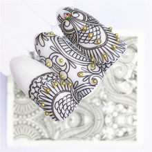 1 pcs Lace Netting Nail Stickers Flowers plants Water Decal Cat Plant Pattern 3D Manicure Sticker Nail Art Decoration m2N73(China)