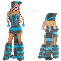 Abbille Halloween Top Selling Fur Corset Costume Cheshire Cat Corset Costume Women Winter Furry Party Costume