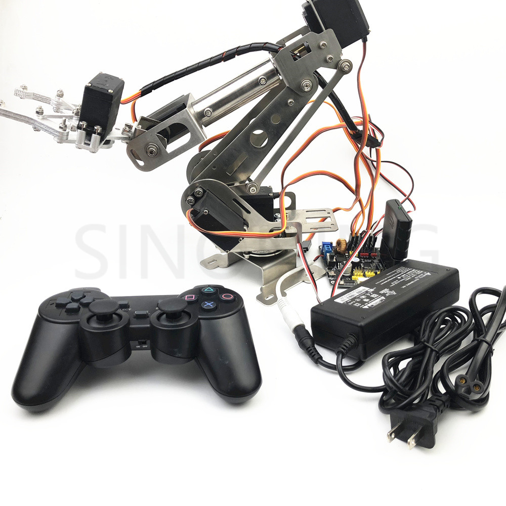 6dof Remote Control Robotic Arm arduino Stainless Steel with claw robot