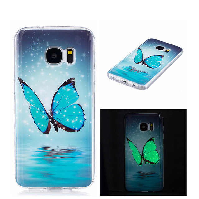 Glow UltraThin butterfly TPU Phone Case for Samsung Galaxy S5 S6 S7 Edge S8 Plus J3 J5 J7 Prime A3 A5 A8 2016 2017 Casing
