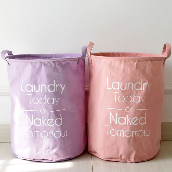 Linen Cotton Laundry Basket Waterproof Toy Orgnizer Clothes Storage Bag Fold Binorganizador Free Shipping BD-13