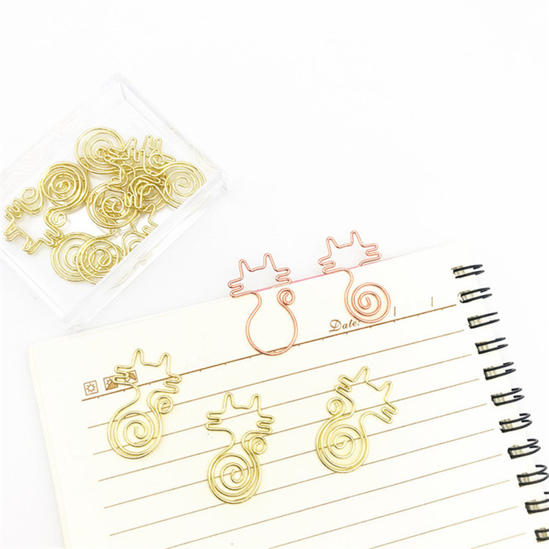 4Pcs/lot Roll Tail Cat Pin Fun Metal Shaped Paper Clip Rose Gold Paper Clip For Book Stationery School Office Supplies