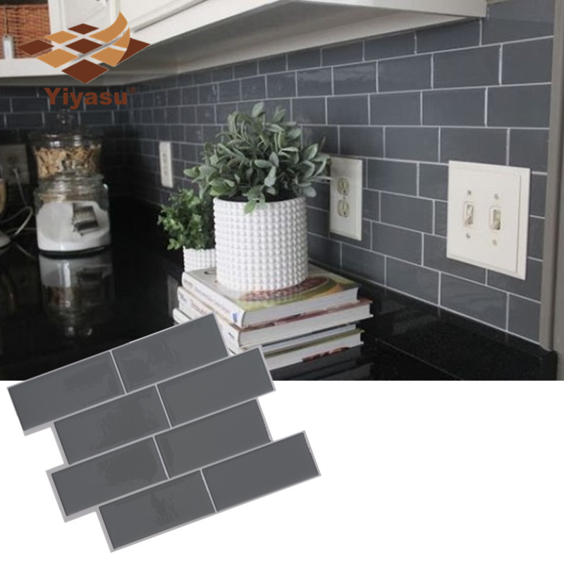 Grey Brick Subway Tile Peel And Stick Self Adhesive Wall Decal Sticker DIY Kitchen Bathroom Home Decor Vinyl 3D