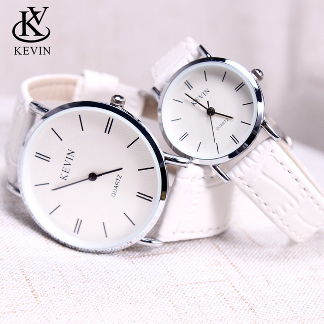 KEVIN KV Fashion Cpuple Watch Leather Men Women Watches Students Gift Present Si