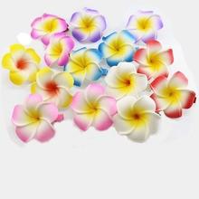 50 pcs/ lot  mixed color Foam Hawaiian Plumeria flower Frangipani Flower bridal hair clip 4.5cm