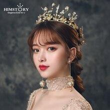 HIMSTORY Vintage Baroque Crown Bridal headband Wedding Hair Accessories Golden Leaf CZ PEarl Headpiece Hairwear