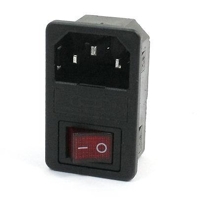250VAC 10A Fuse Holer 4 Pin O/I Rocker Switch IEC320 C14 Inlet Power Plug 10vr7m[ac power line filters 10a iec 1 4 faston bulkhead mn mr li