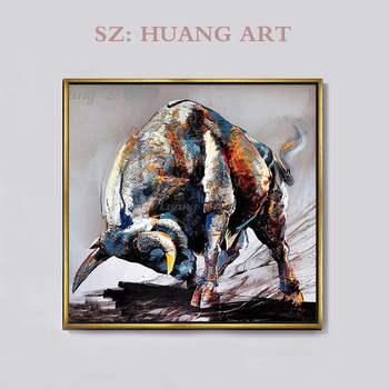 Artist Hand-painted High Quality Strong Bull Oil Painting on Canvas Modern Cattle Strong Bull Ready to Fight wall Oil Painting