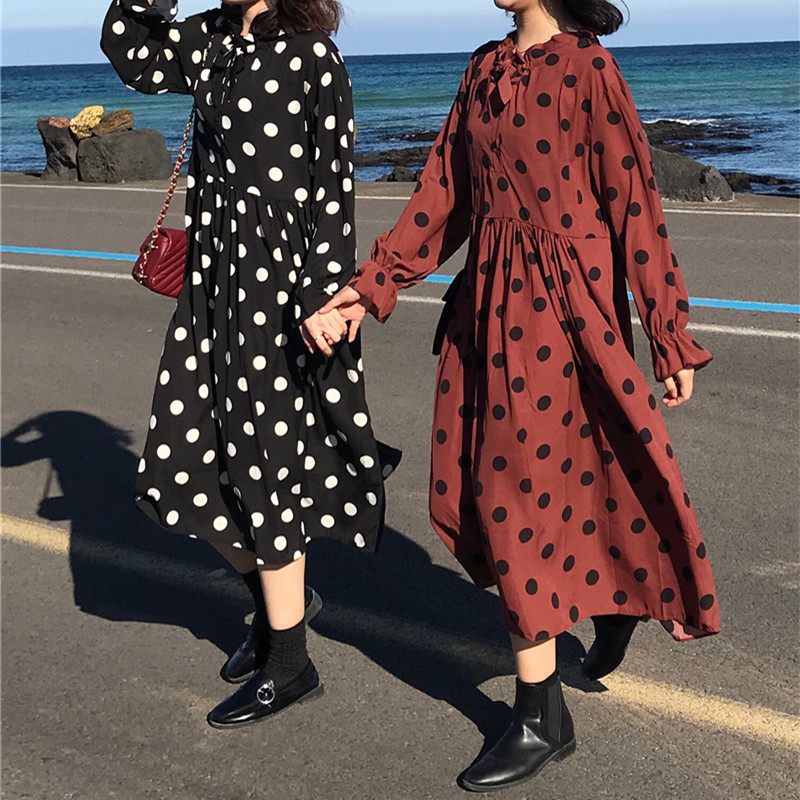 2 Colors Autumn Dress 2018 Women Polka Dot Print Loose Long Dress Casual  Long Sleeve Dress Womens (k727)