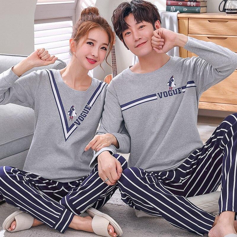 Brand Autumn Men's Cotton Pajamas Letter Stripes Sleepwear Cartoon Pajama Sets Casual Lounge Suits Pyjamas Plus Size 3XL Pijama
