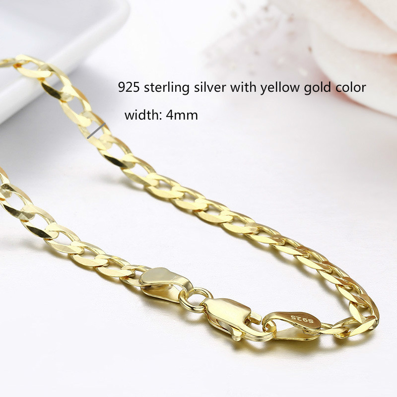 45cm-80cm 4mm Slim 925 Sterling Silver W/ Gold Color Curb Chain Link Necklaces Men Jewelry Hiphop collares kolye Collier ketting