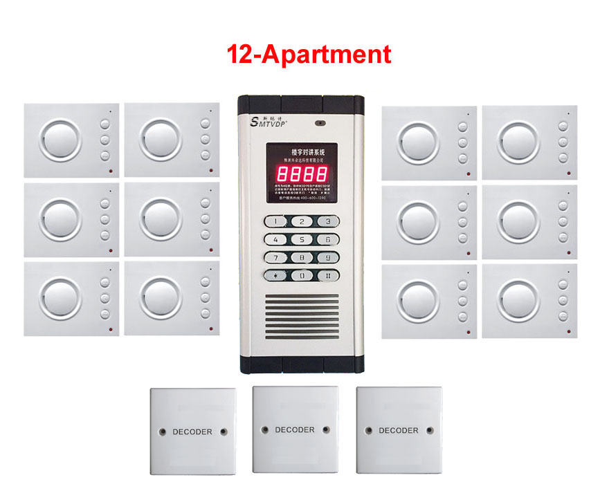 Passwort Entsperren Ruf Zuerst Hand-free Audio Tür Telefon Nett Top Qualität Sicherheit Nicht-visuelle Gebäude Intercom System Für 12-wohnungen