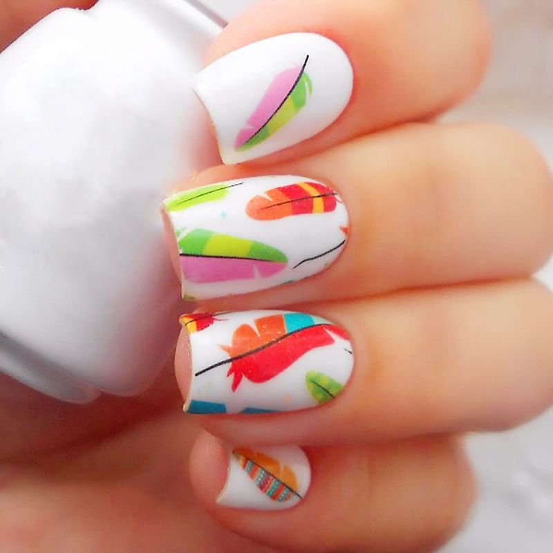 BORN PRETTY Colorful Feather Nail Art Water Decals Transfer Stickers BP-W18 #20609 Manicure Decoration 2 Patterns/Sheet ободки pretty mania ободок