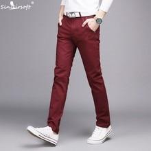 цены New Mens Casual Business Pant Stretch Elastic Fabric Slim Straight Pant Black Blue Khaki Men Pants Trousers Male Big Size 28-38