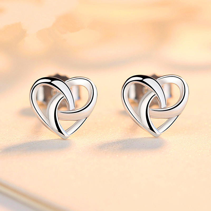 Cute Female Small Heart Style Stud Earrings Vintage Silver Color Jewelry Double Sided Wedding Earrings For Women(China)