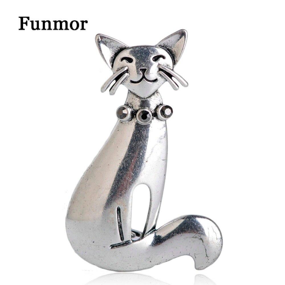 Женские винтажные броши кошки FUNMOR, вечерние булавки в стиле хиджаба, антикварные Броши серебристого цвета с кристаллами в форме животного, подвеска на свитер|Броши|   | АлиЭкспресс