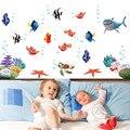 Nemo fish de dibujos animados etiqueta de la pared para ducha adhesivo de azulejo en el cuarto de baño para niños de los niños del bebé en baño AY617