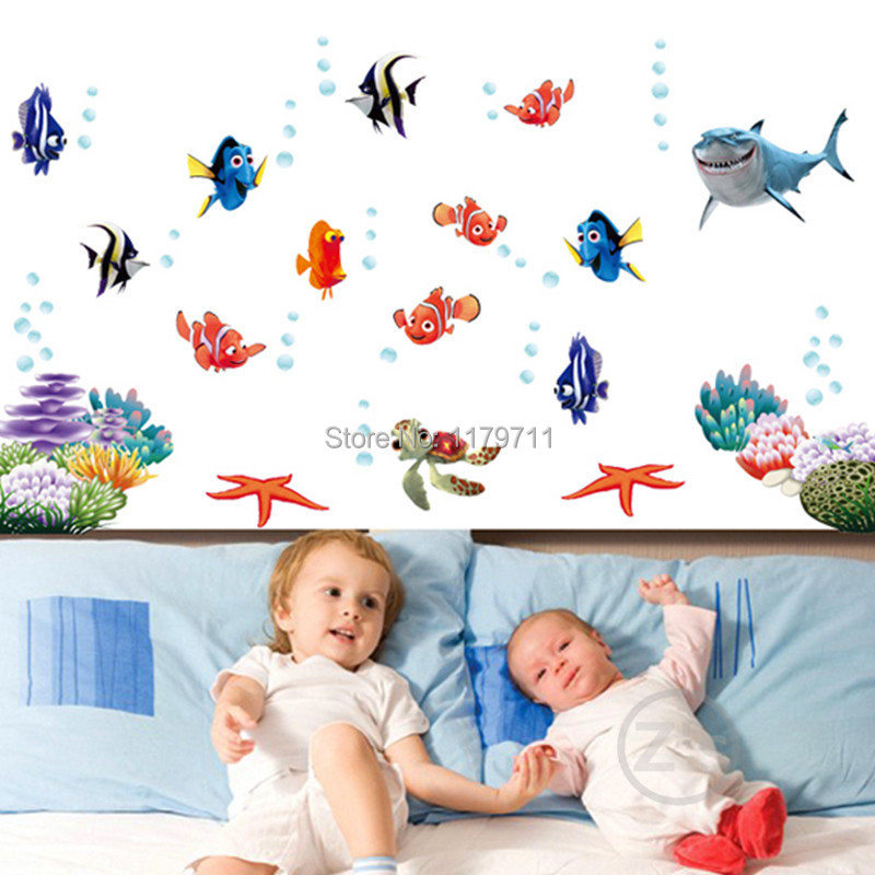 Zs Sticker nemo fish cartoon wall sticker for shower tile stickers in the bathroom for children kids baby on bath