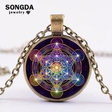Songda retro geometria sagrada metatron cubo colar feito à mão vidro convexo pingente colar estrutura de energia do universo lembrança