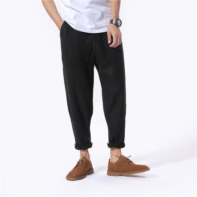 Japón estilo de los hombres pantalones casuales de la moda suelta hiphop pantalones de lana para hombre negro de invierno nueva espesar pantalones calientes C127