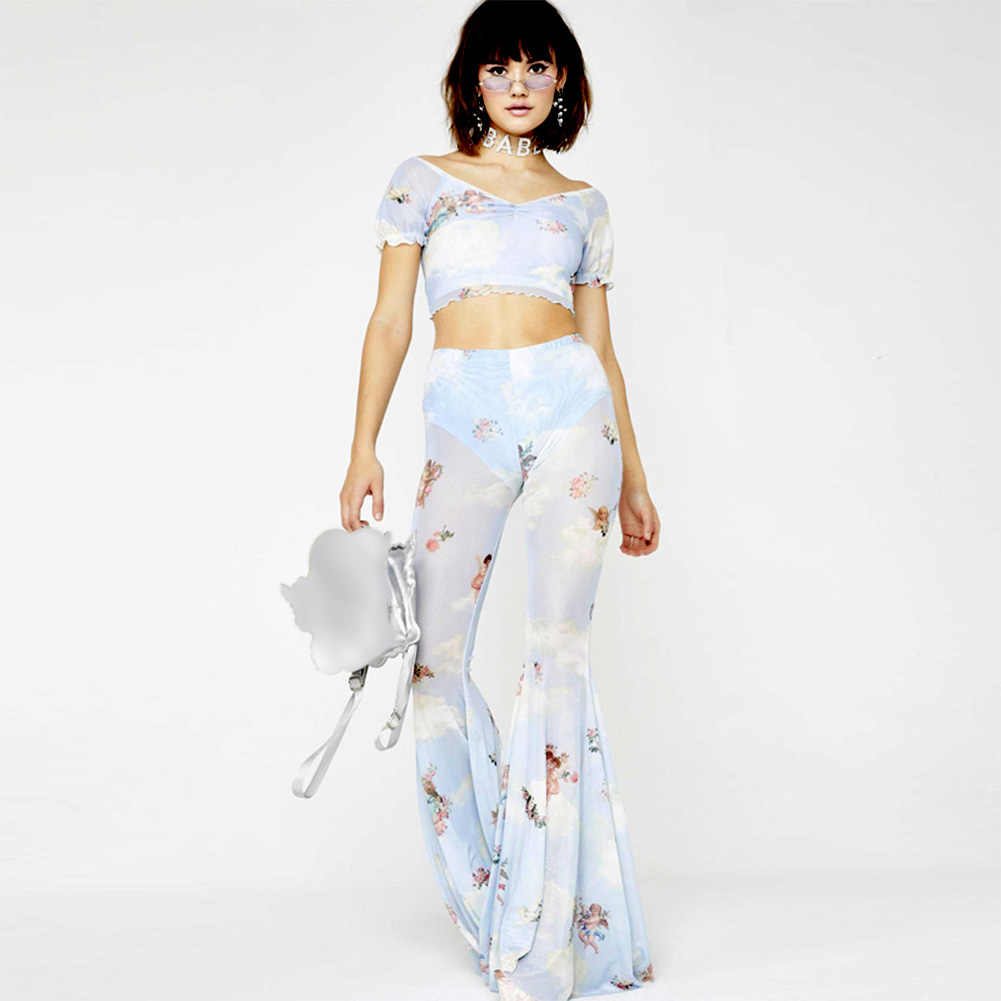 Elastyczne z krótkim rękawem lato Crop Top Sexy plisowana szczupła anioł drukuj moda V Neck kobiety T-shirt na co dzień siatka na plażę