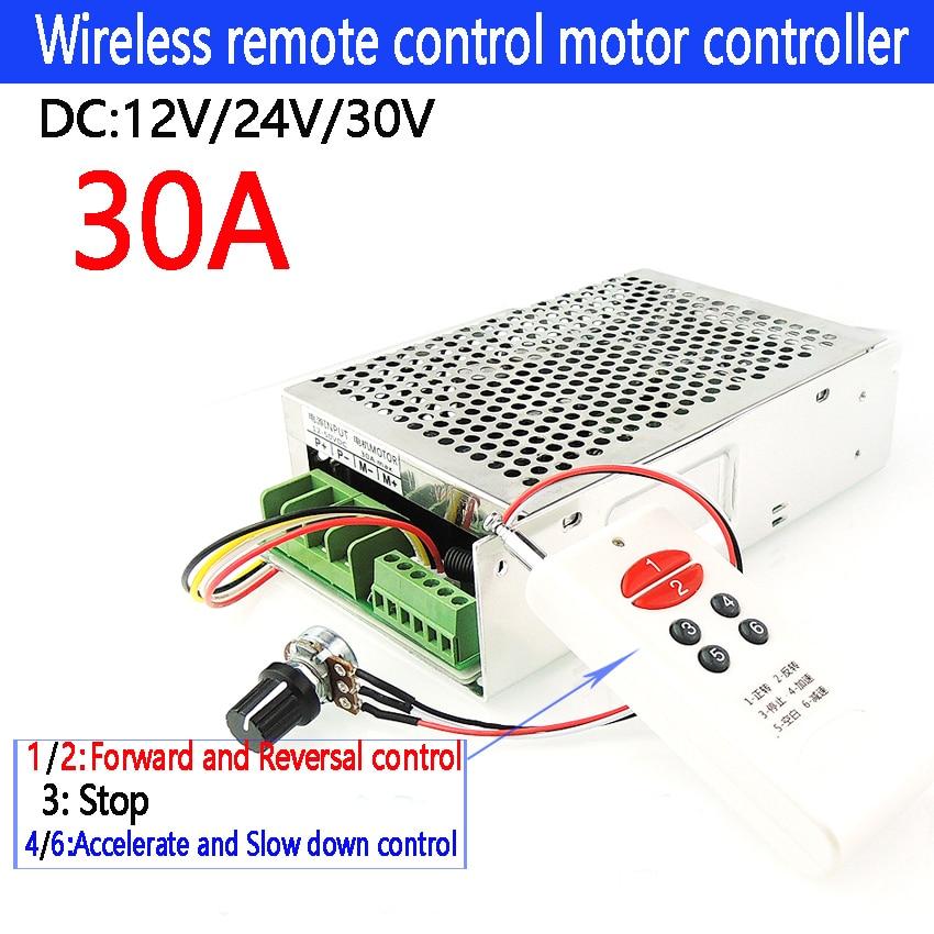 30A Sans Fil télécommande dc 12 v 24 v 30 v contrôleur de moteur Motor Drive pwm moteur bldc contrôleur