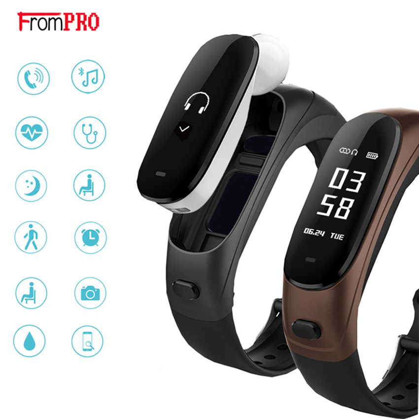 FROMPRO V08 Wireless Bluetooth Earphone Smart Band 2 in 1 Earband Smart Bracelet Wristband Heart Rate Blood Pressure Monitor newest v08 wireless earphone smart band 2 in 1 bluetooth headset wristband heart rate blood pressure monitor smart bracelet