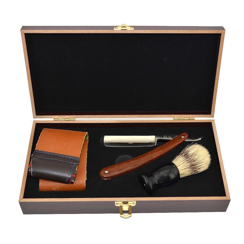Men Gold Dollar 800 Classic Straight Shaving Razor Cut Throat Knife Wood Box W/ Sharpening Strop Brush Shaving Kit Best Gift straight razor shaving knife brush and leather strop wood handle box kit