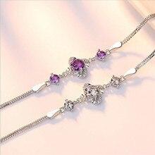 TJP Luxury Crystal Zircon Girl Bracelets Anklets Fashion Women 925 Sterling Silver For Lady Bride Wedding Party Bijou