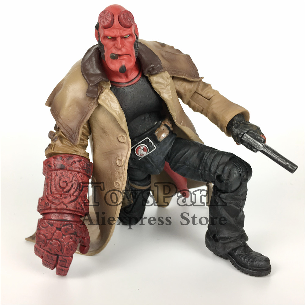 ToysPark Smoking Hellboy HB 7 Action Figure Model With The Samaritan HandGun Collectible No Retail Box 20cm 7 hellboy action figure wounded hellboy includes samaritan handgun cool hb collectible model toy