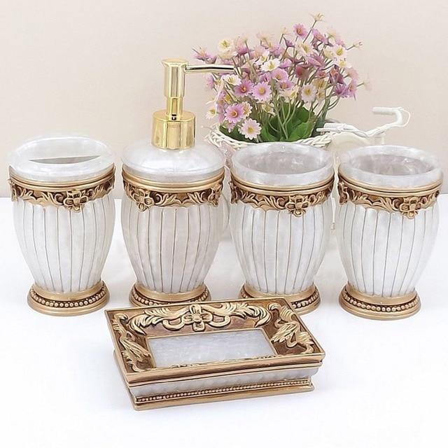 Homestia 5pcs Luxury Roman Resin Bathroom Set Lotion Shampoo
