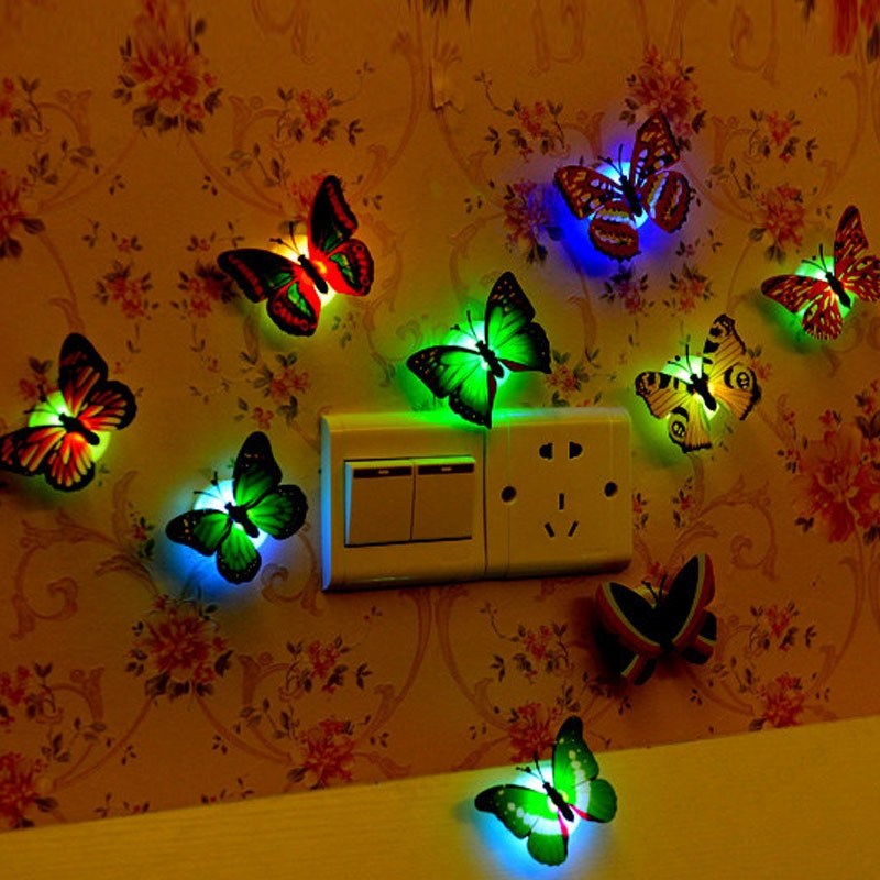 10 Pcs Colorful LED Light Butterfly Luminous Dragonfly Lights For Party Home Wedding Christmas Decoration Supplies Wall Lamp
