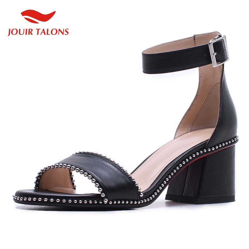 INS Hot Women Shoes Luxury Brand Genuine Leather Chunky Heels Elegant Summer Party Sandals Shoes WomanINS Hot Women Shoes Luxury Brand Genuine Leather Chunky Heels Elegant Summer Party Sandals Shoes Woman