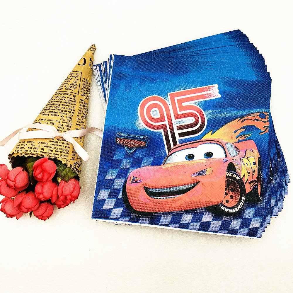 วันเกิด 20 ชิ้น/ถุงน่ารักการ์ตูน Lightning McQueen PARTY Supplies กระดาษผ้าเช็ดปากตกแต่งและ Pikachu PARTY Supplies