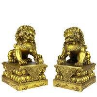 Il rame puro bestia re leone Brass lion un paio di Pechino leone ornamenti per la casa Spedizione gratuita