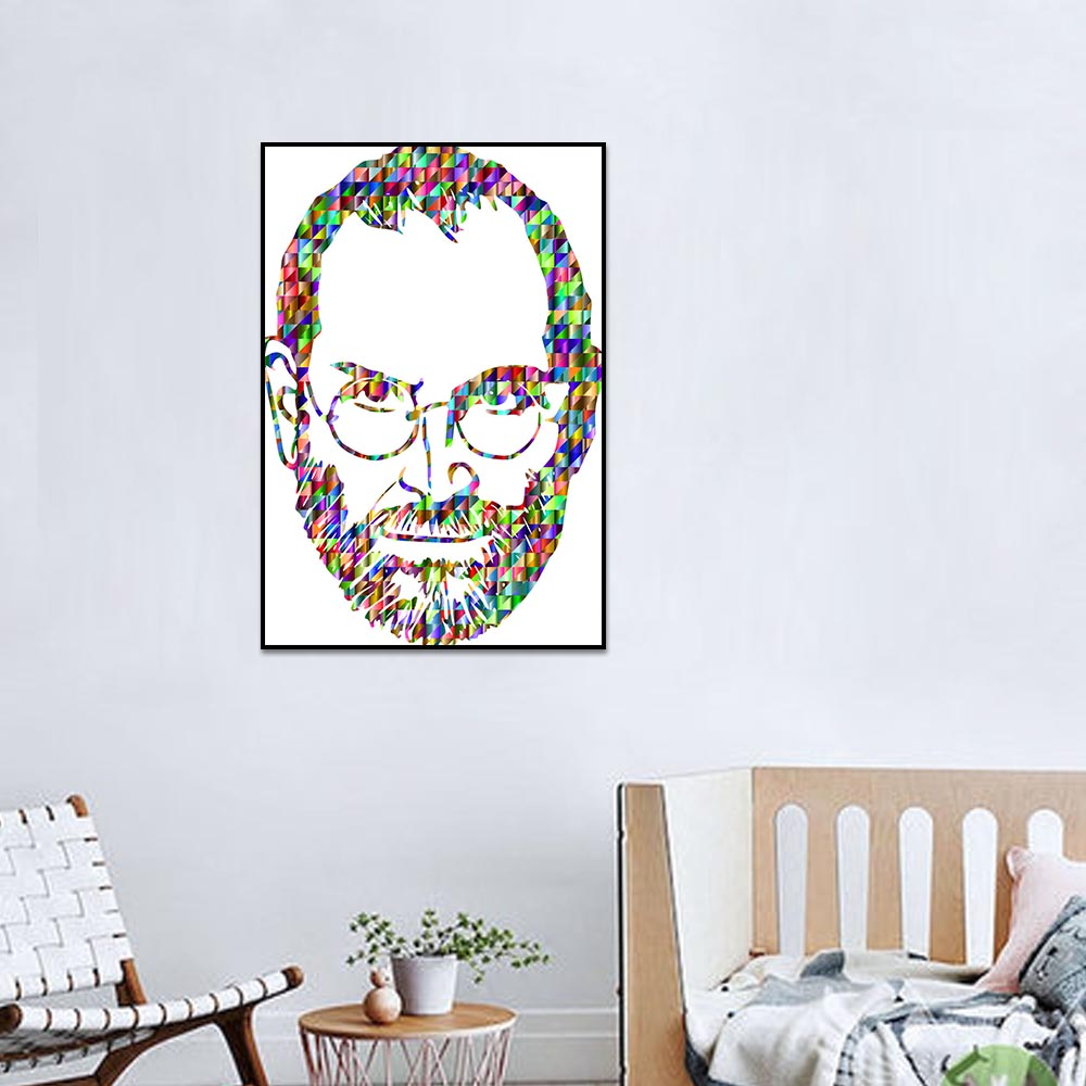 Unframed Canvas Prints Colored Hair Bearded Man Painting Prints Wall Pictures For Living Room Wall Art Decoration Dropshipping
