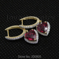 Vintage Heart Shape 4 37Ct Solid 14Kt Yellow Gold Diamond Blood Red Ruby Earrings
