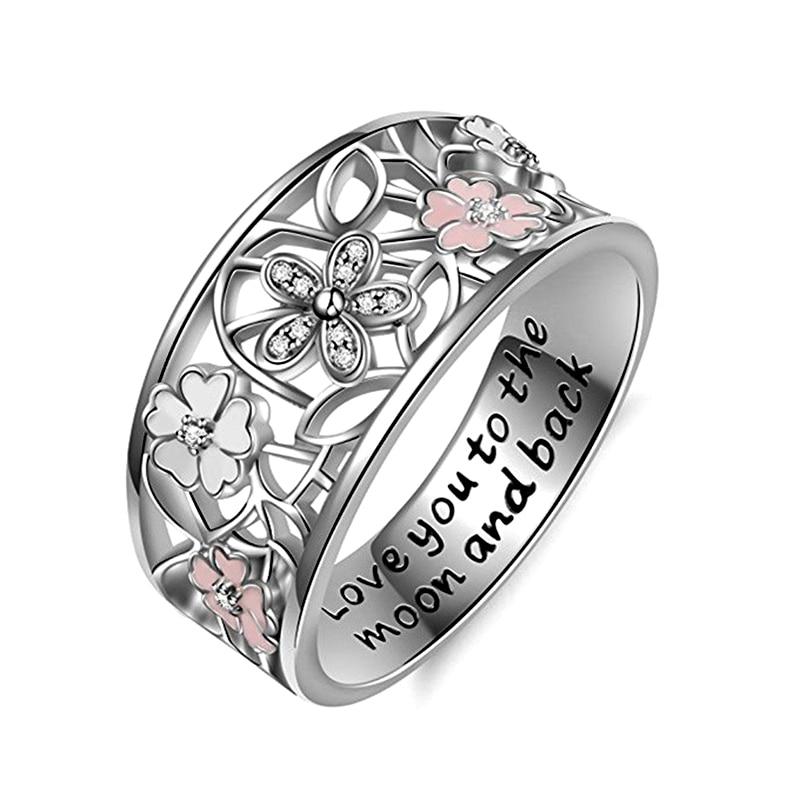 Moda margarida de prata flor & infinito amor pave dedo marca anéis para casamento feminino noivado jóias