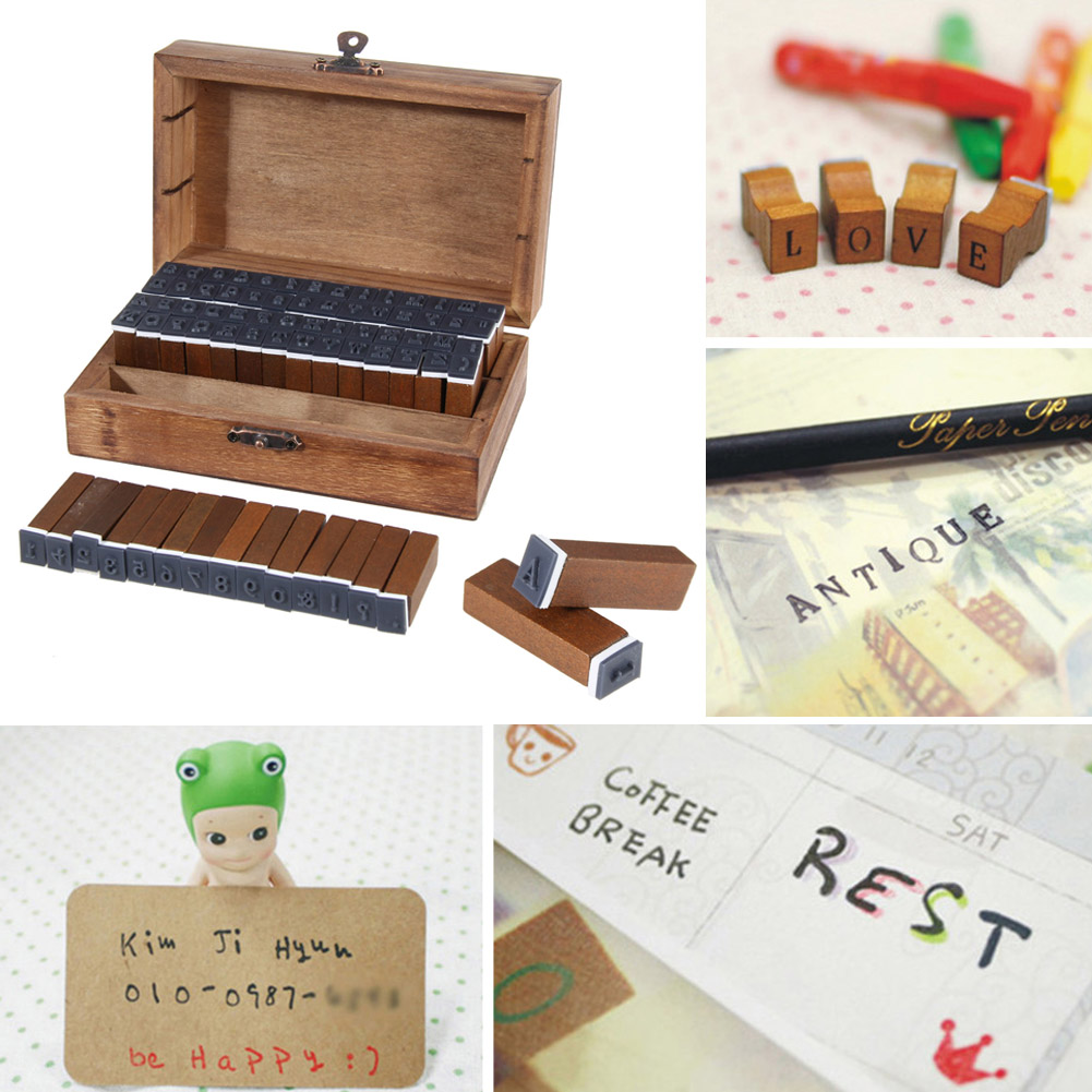 Wholesale 70pcs Vintage Wooden Craft Box Alphabet Stamp Rubber Stamp Set Urabet Wooden Letter Numbber Stamps Crfaft Set wholesale hot sale 30pcs set letter wood stamp alphabet stamps wooden box personalized motto handmade hobby sets free shipping