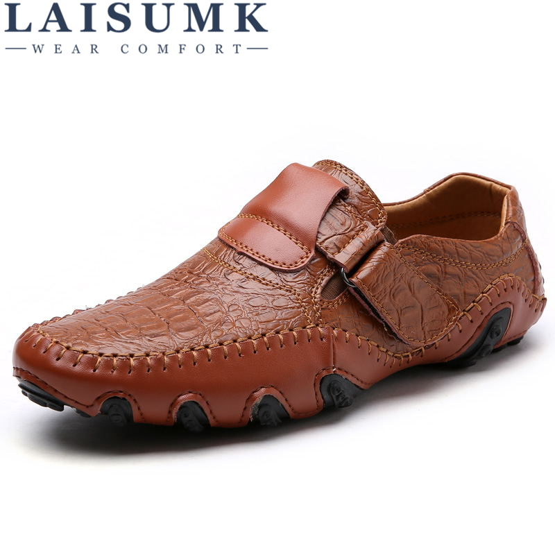 LAISUMK Brand Fashion British Style Men Causal Shoes Genuine Leather Slip On High Quality Outdoor Shoes Zapatos Hombre