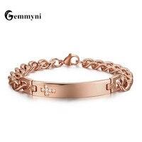 Brand Stainless Steel Cross Bracelet Bangles For Women Men Austrian Rhinestones Charm Chain Rose Gold Color