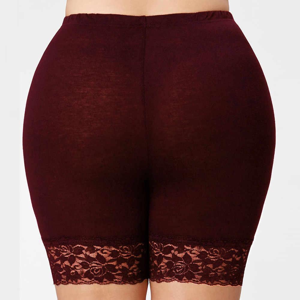 Krótkie spodnie damskie wiosna Plus rozmiar w połowie talii koronki gorące spodenki elastyczne spodnie sportowe spodnie kufry 19July16 P30