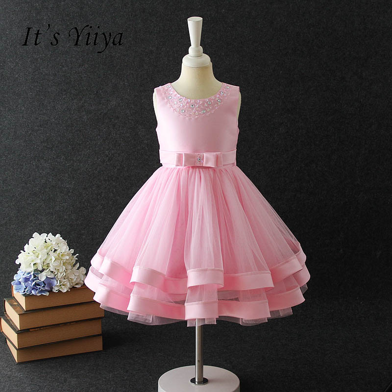 It's yiiya Bow Zipper   Flower     Girl     Dress     Flower     Girl   Kid Child Cloth Beading Ball Gown Princess For Party Wedding   Girl     Dress   S261