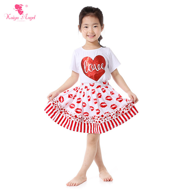 f048cea9d3dd Valentines Day Girls Clothes Love of Hearts T-Shirt Skirt Suit Red Lip  Prints Skirt Boutique Outfit Kids Clothing Wholesale Suit