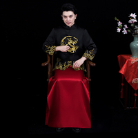 New groom embroidered Hanfu Tang suit sets Chinese style costume male Qipao dress traditional Chinese wedding cheongsam for men