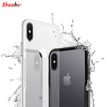 SHUOHU Tempered Glass Phone Bag Case for Iphone 7 8 Plus Case Luxury Silicone Transparent Cover for Iphone X 6 6S Plus Cases