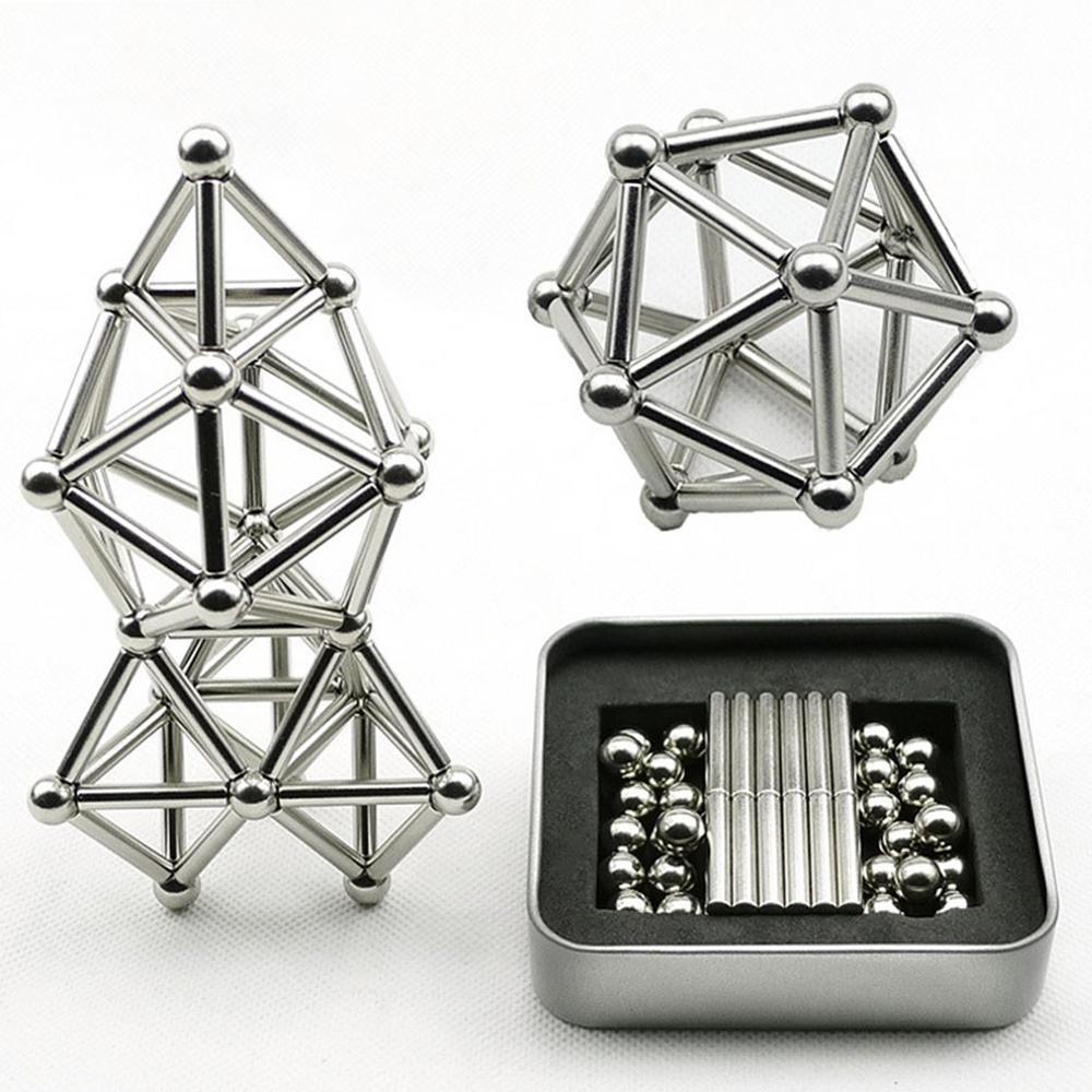 63Pcs Magnet Toy Bars /& Metal Balls Magnetic Building Blocks Construction Toys