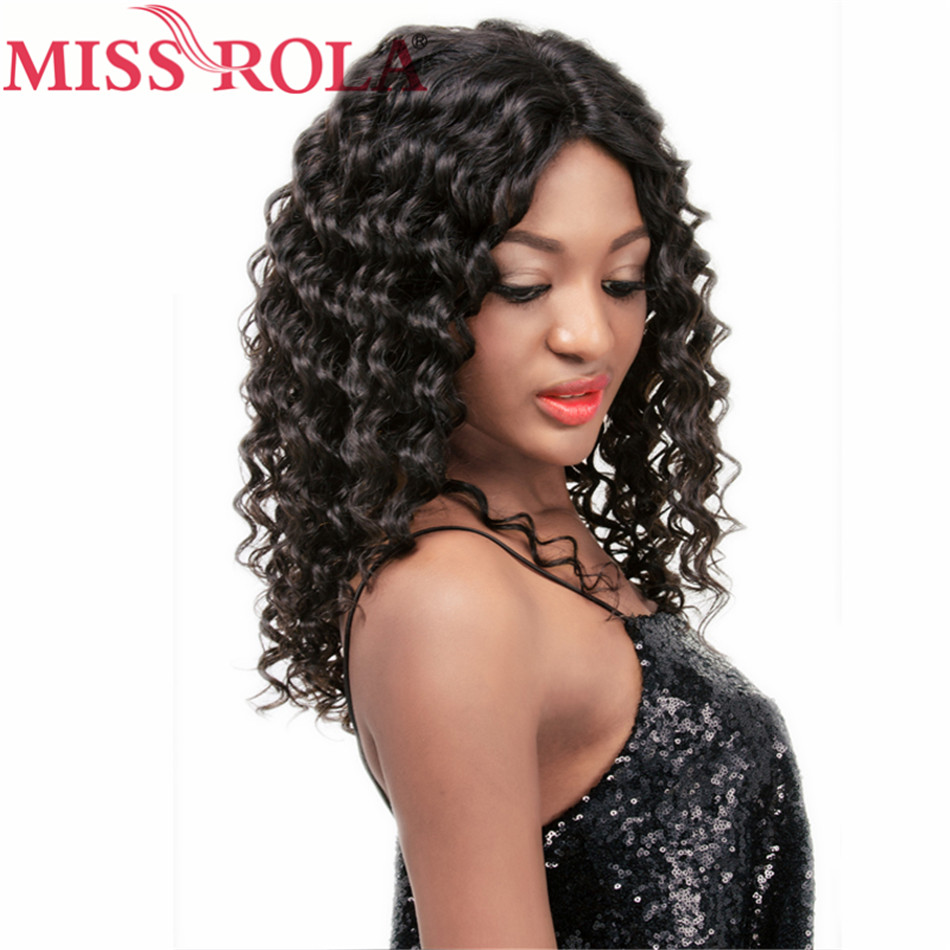 Miss Rola Hair Pro-colored Remy Hair Brazilian 100% Human Deep Wave Hair French Lace Wigs #1 250g Free Shipping