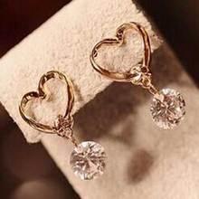 FAMSHIN 1pcs New Fashion Stud  Jewelry Hot Sale Hollow Love Heart Fine Zircon Earrings For Woman Accessories Best Gift