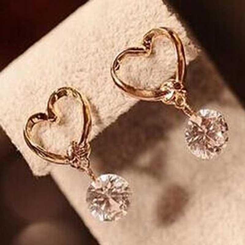 Famshin 1 шт. Новая мода шпилька Jewelry Лидер продаж полые сердце любовь Изысканные циркон Серьги для женщины Интимные аксессуары Best подарок